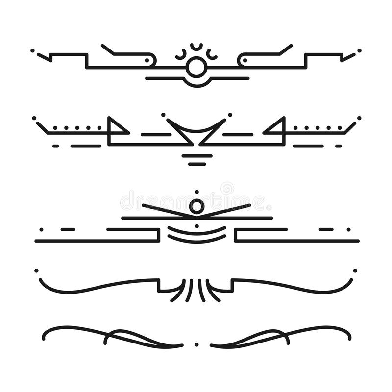 Colección de ejemplo decorativo del estilo de los divisores del vector del vintage de la frontera del diseño caligráfico del marc libre illustration