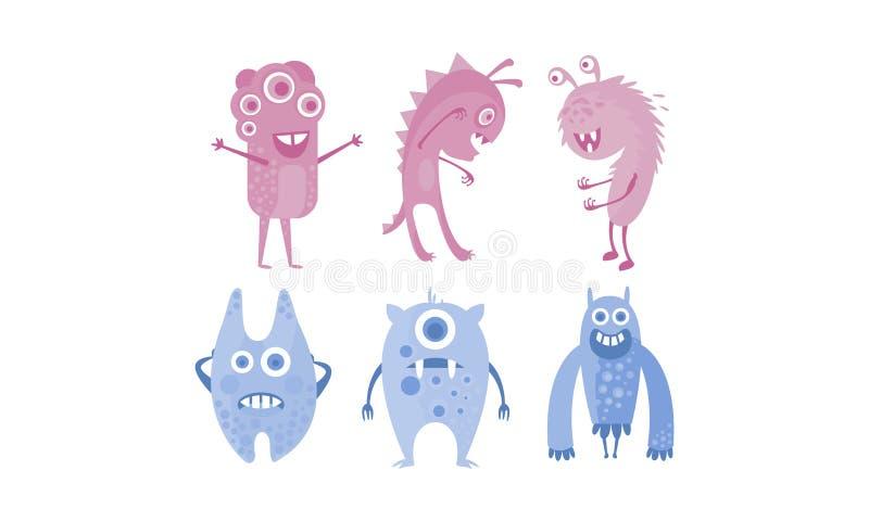 Colección de ejemplo extranjero divertido lindo de los monstruos, azul y púrpura del carácter del vector stock de ilustración