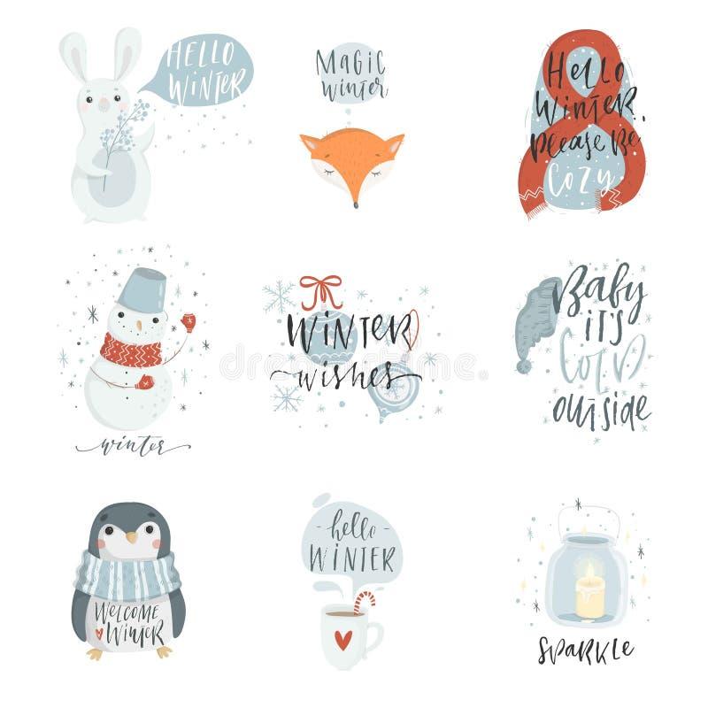 Colección de 9 ejemplos lindos del invierno stock de ilustración