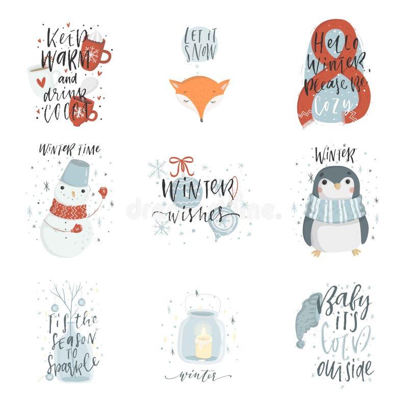 Colección de 9 ejemplos lindos del invierno ilustración del vector