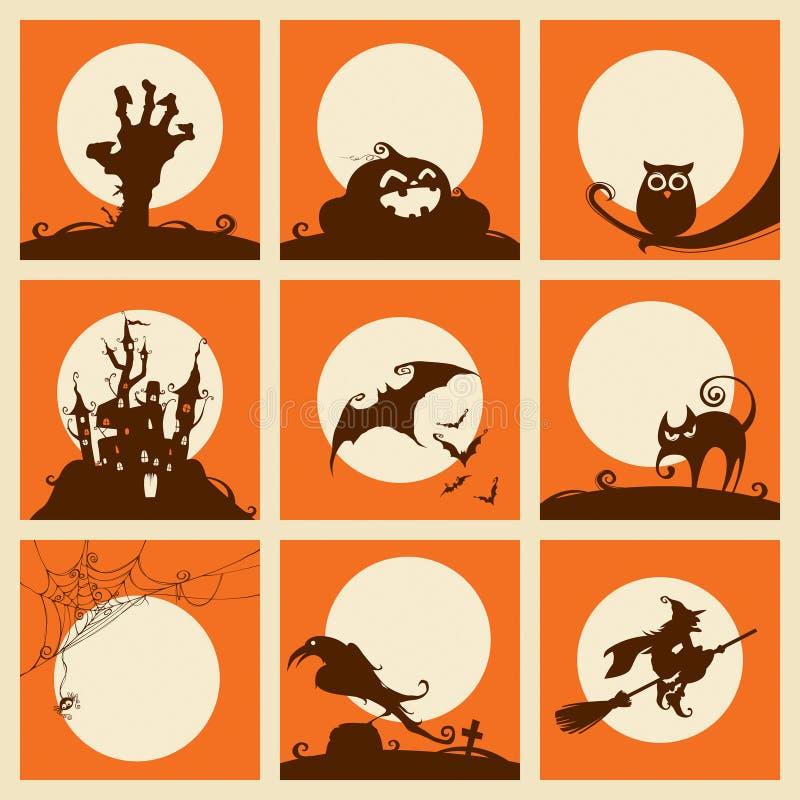 Colección de elementos de Víspera de Todos los Santos ilustración del vector
