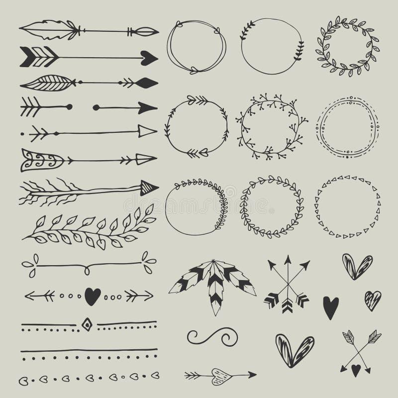 Colección de elementos del diseño de la boda, de flechas, de corazones de los boders de los círculos y de plumas dibujados mano stock de ilustración