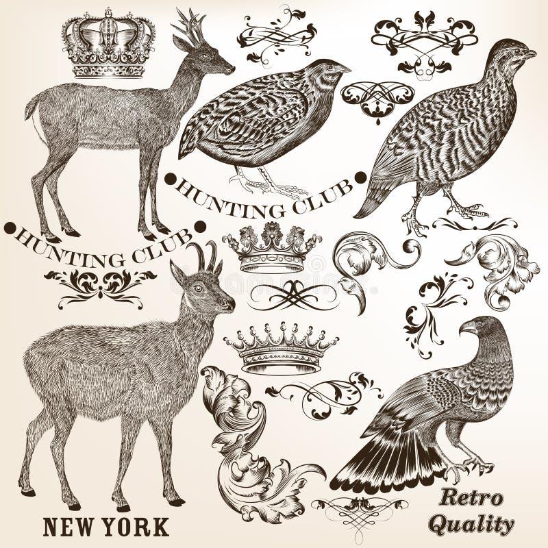 Colección de elementos dibujados mano del vintage del vector stock de ilustración