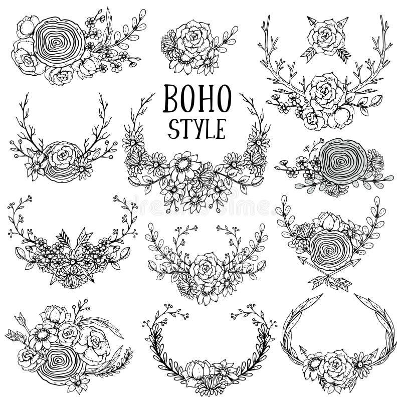 Colección de elementos florales dibujados mano en estilo del boho libre illustration