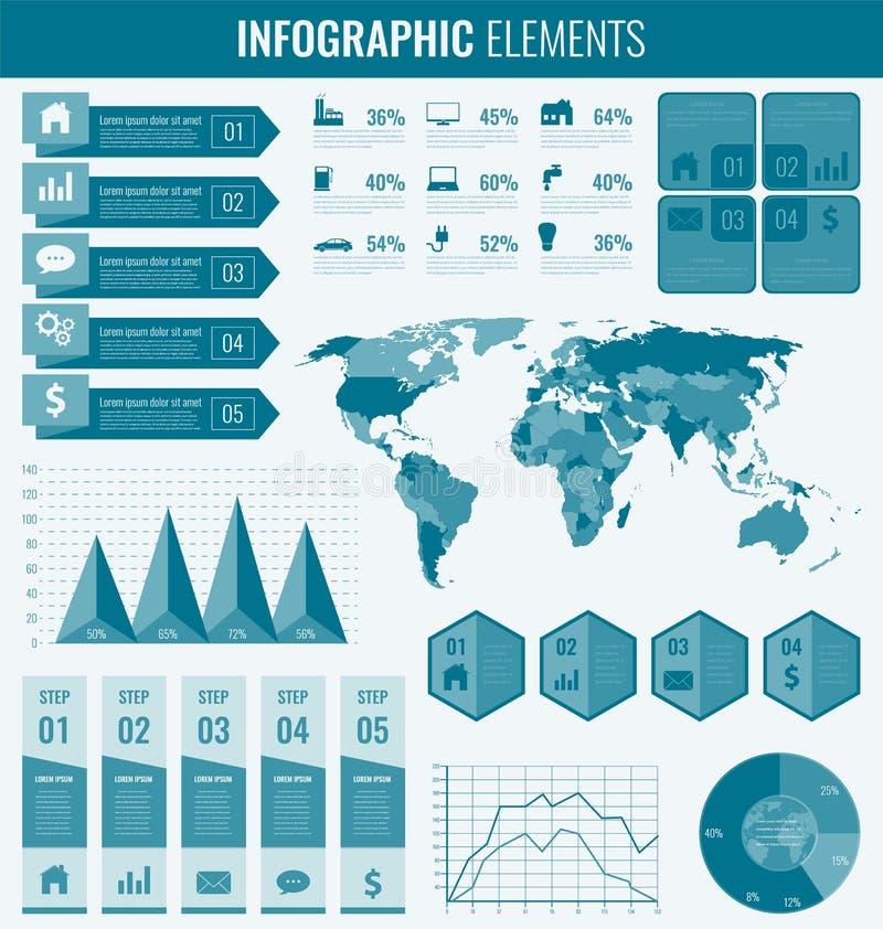 Colección de elementos infographic Plantilla para el negocio y las presentaciones Conjunto de Infographics Vector stock de ilustración