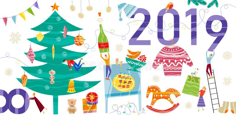 Colección de elementos de la Navidad y del Año Nuevo Diseño plano del vector con textura stock de ilustración