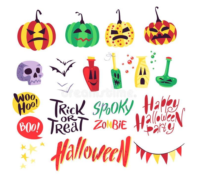 Colección de elementos tradicionales de la decoración de Halloween del vector plano aislados en el fondo blanco ilustración del vector