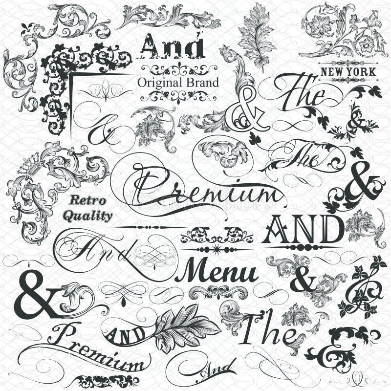 Colección de elementos y de flourishes caligráficos para el diseño ilustración del vector