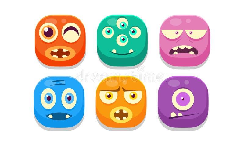 Colección de emoticons brillantes de los botones con diversas emociones, ejemplo colorido del vector de los monstruos del emoji ilustración del vector