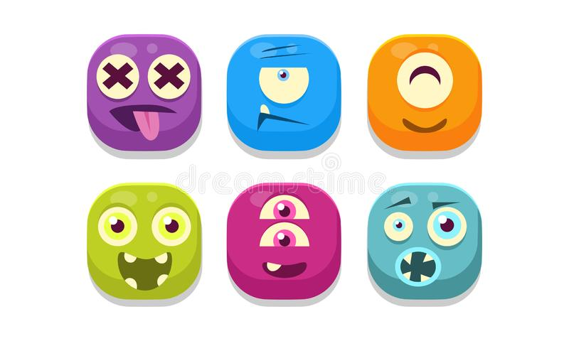 Colección de emoticons brillantes de los botones con diversas emociones, ejemplo del vector de los monstruos del emoji ilustración del vector