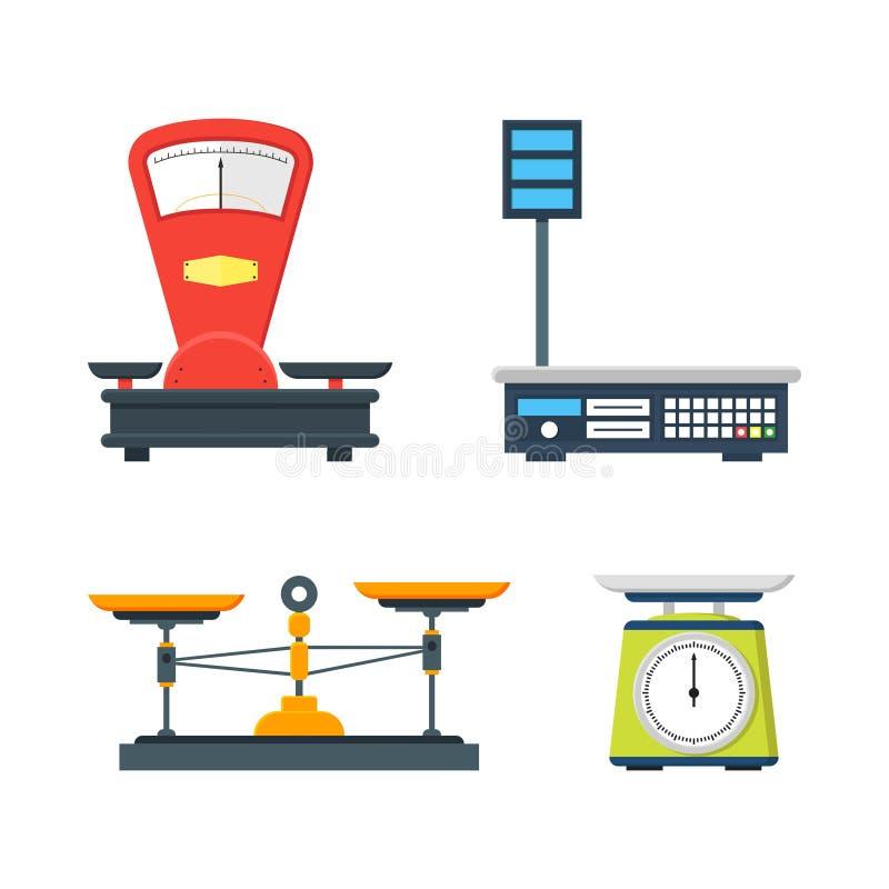 Colección de escalas electrónicas y mecánicas stock de ilustración