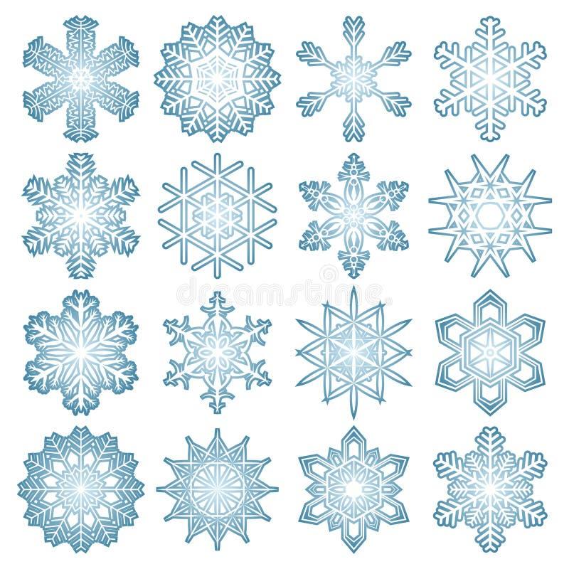 colección de escamas azules de la nieve stock de ilustración