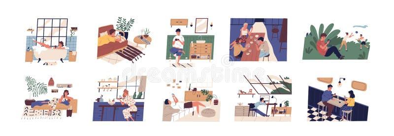 Colección de escenas con la gente que usa smartphones en casa, la oficina o el aire libre Hombres y mujeres con los teléfonos móv ilustración del vector