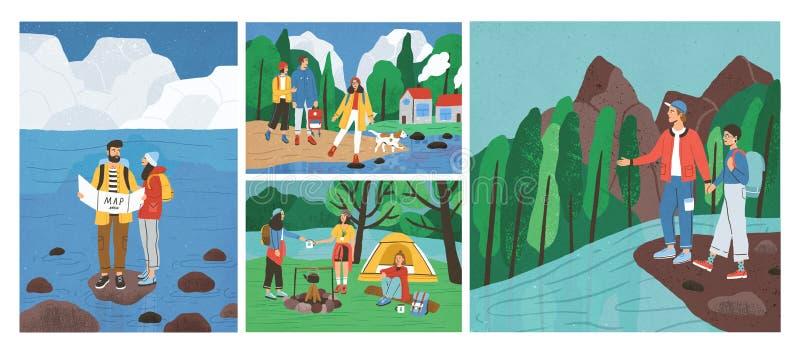 Colección de escenas con los amigos que caminan o que hacen excursionismo en bosque o bosque en el río o el mar Fije de turistas  libre illustration