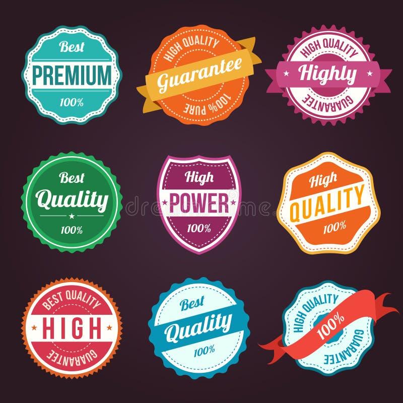 Colección de escrituras de la etiqueta coloridas del diseño del vintage retro ilustración del vector