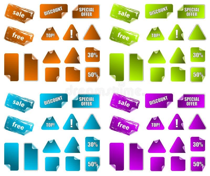 Colección de escrituras de la etiqueta de la comercialización de la promoción. ilustración del vector