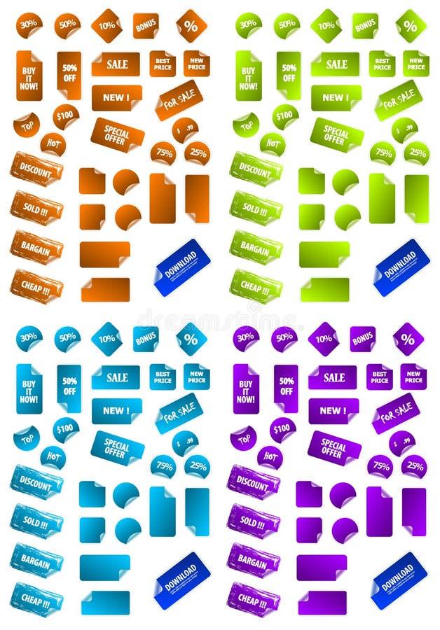 Colección de escrituras de la etiqueta multicoloras de la comercialización. ilustración del vector