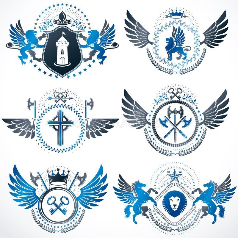 Colección de escudo de armas decorativo heráldico del vector aislado en blanco y creado usando los elementos del diseño del vinta ilustración del vector