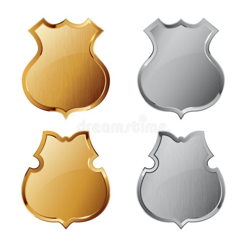 Colección de escudos de plata y de oro ilustración del vector