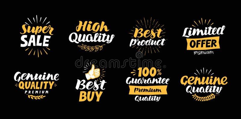 Colección de etiquetas con los deletreados hermosos tales como venta estupenda, producto de alta calidad, mejor, oferta limitada, ilustración del vector