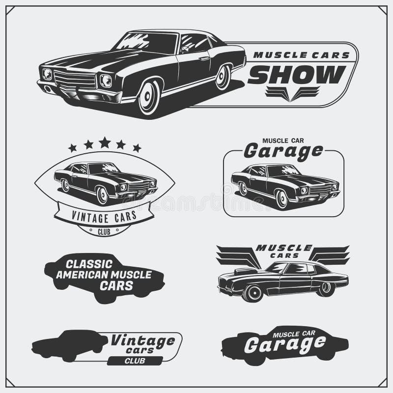 Colección de etiquetas de los coches del músculo del vintage, insignias y elementos del diseño Etiquetas del servicio del coche ilustración del vector