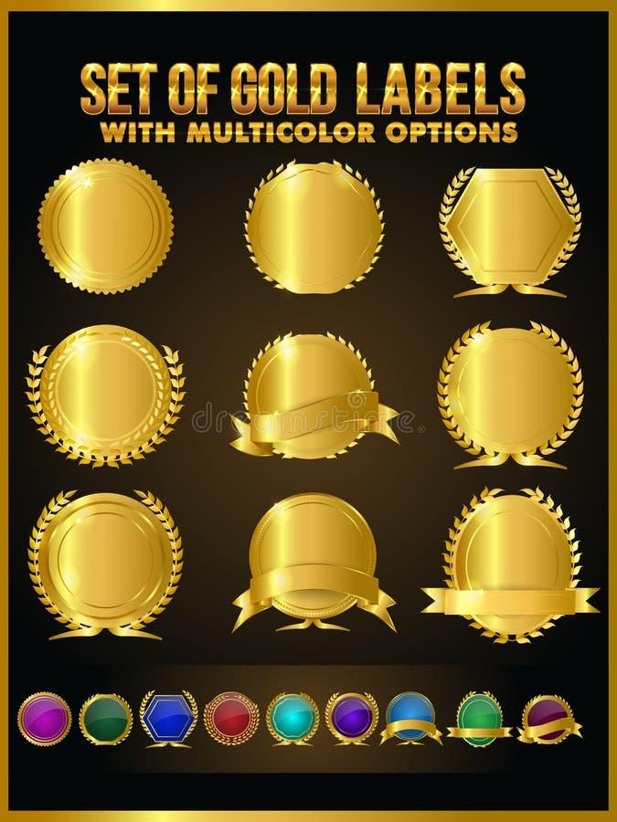 Colección de etiquetas del oro, insignia, etiqueta engomada, cinta libre illustration