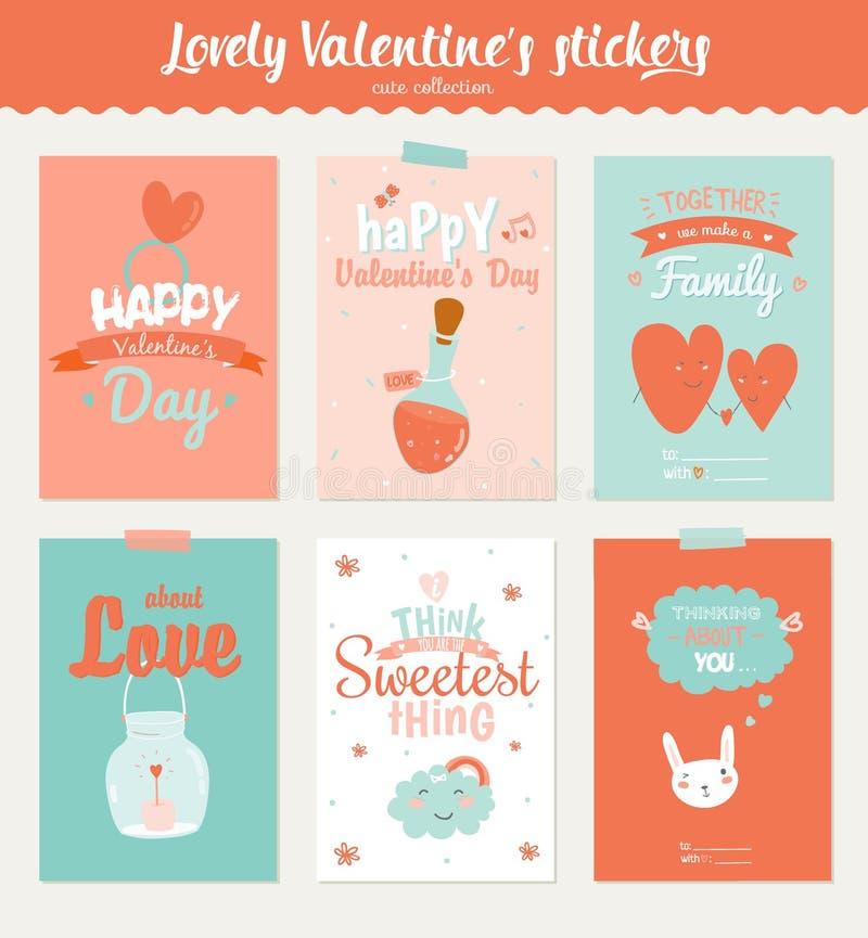 Colección de 6 etiquetas del regalo del día de tarjetas del día de San Valentín stock de ilustración