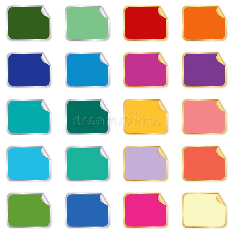 Colección de etiquetas engomadas y de conjunto de escrituras de la etiqueta stock de ilustración