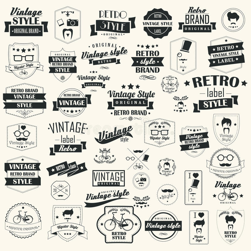 Colección de etiquetas retras del vintage, insignias, sellos, cintas stock de ilustración