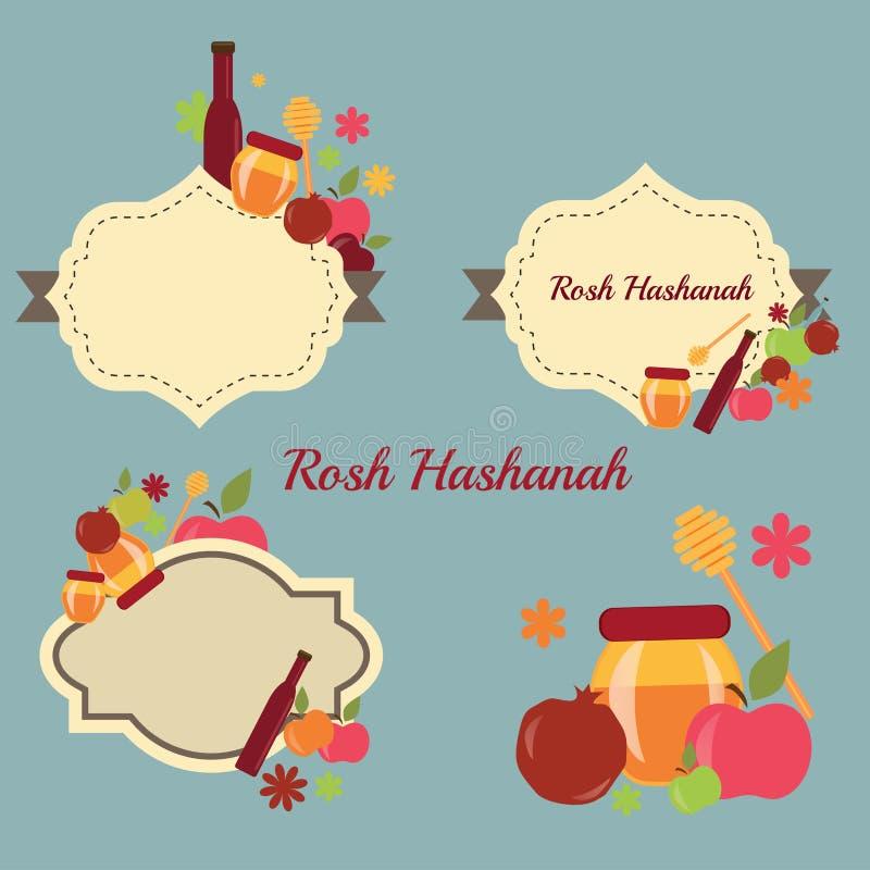 Colección de etiquetas y de elementos por el Año Nuevo judío de Rosh Hashanah stock de ilustración