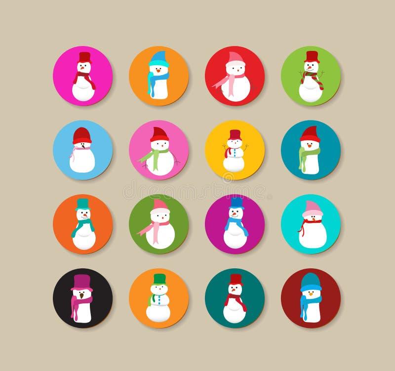 Colección de etiquetas y de iconos de la Navidad del muñeco de nieve ilustración del vector