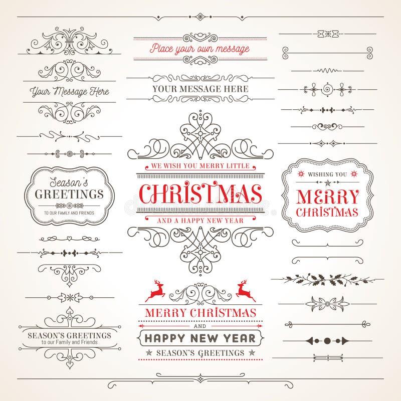 Colección de etiquetas y de elementos elegantes del vector de la Navidad ilustración del vector