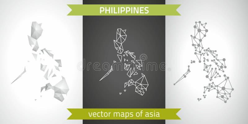 Colección de Filipinas de mapa moderno de los mapas del diseño del vector, gris y negro y de plata del punto del contorno del mos stock de ilustración
