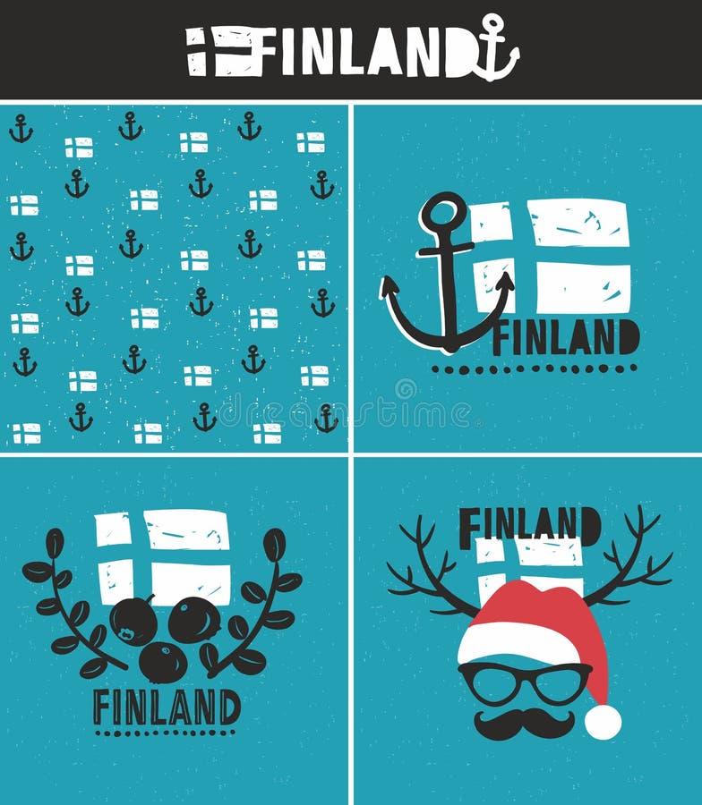 Colección de Finlandia de etiquetas ilustración del vector