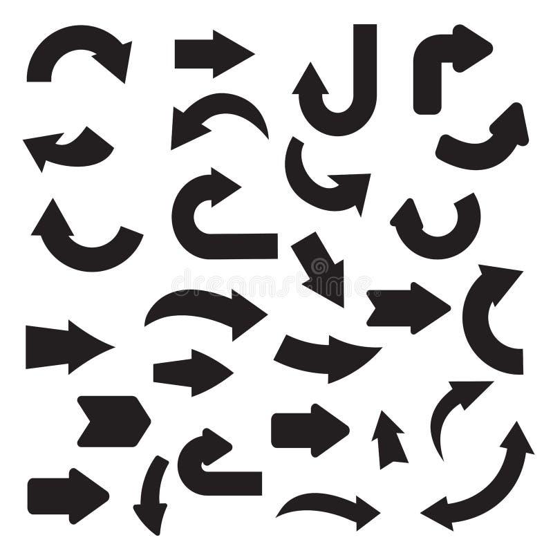 Colección de flecha del negro plano ilustración del vector