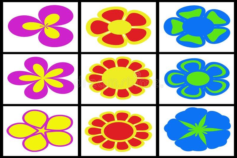 Colección de flores coloreadas libre illustration