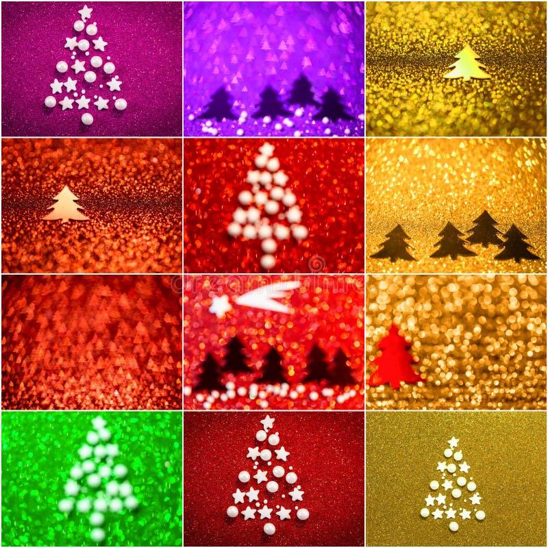 Colección de fondo con el árbol de navidad y las estrellas imágenes de archivo libres de regalías