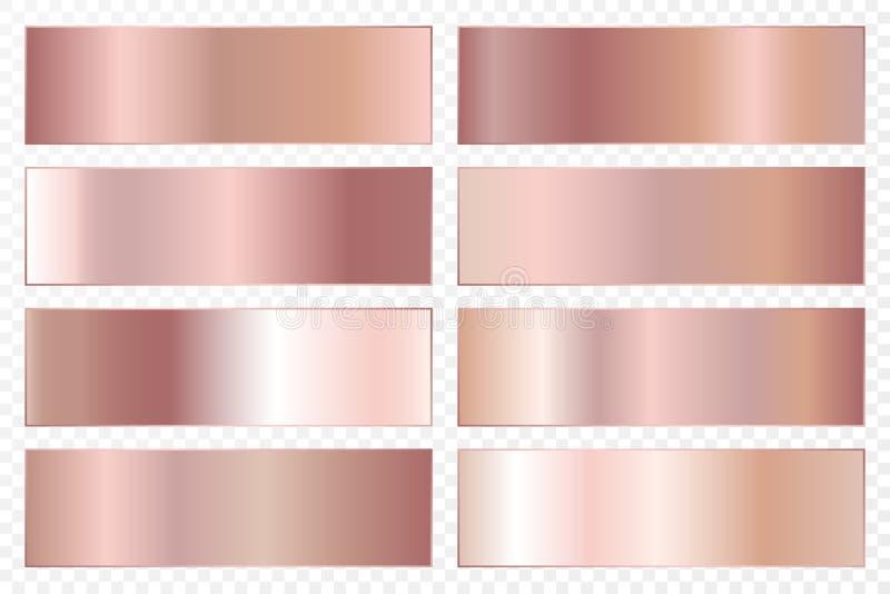 Colección de fondos con una pendiente metálica Placas brillantes con efecto color de rosa del oro Ilustración del vector ilustración del vector