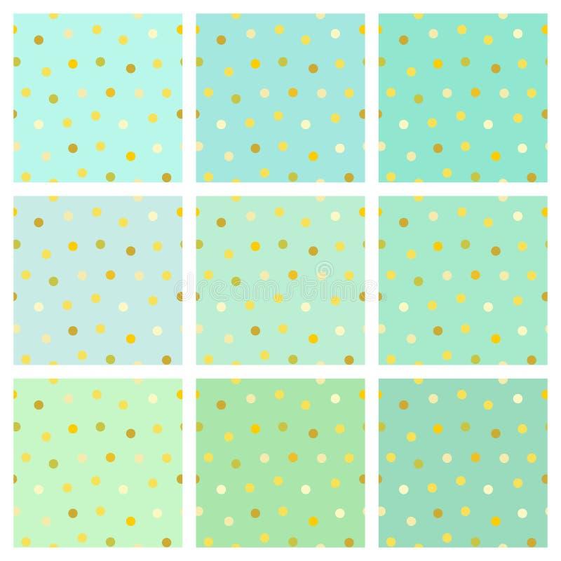 Colección de fondos del verde menta con los puntos de oro stock de ilustración
