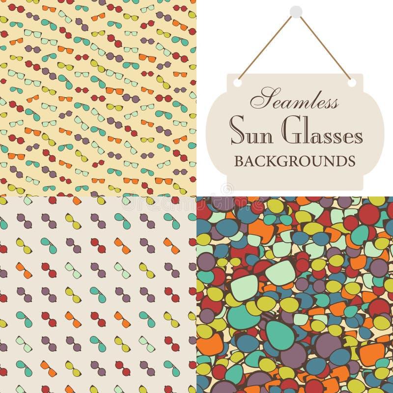 Colección de fondos inconsútiles en el tema de los vidrios de sol ilustración del vector