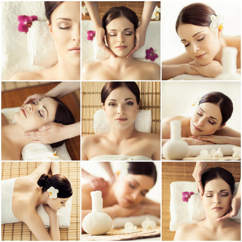 Colección de fotos con las mujeres que tienen diversos tipos de massag fotos de archivo