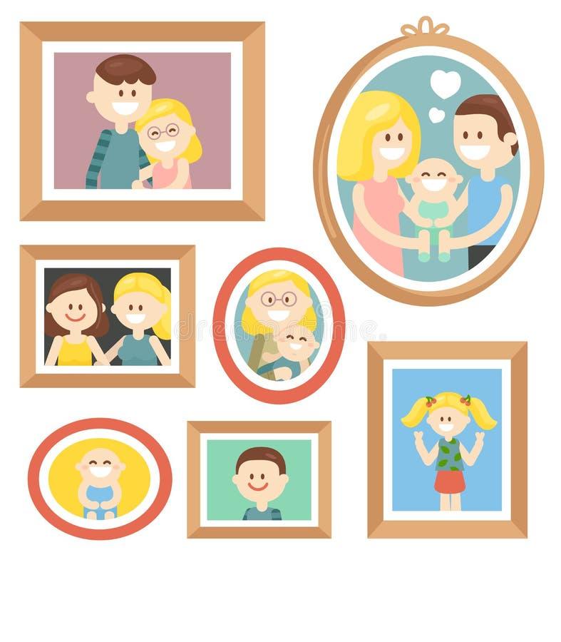 Colección de fotos de familia de la historieta en marco ilustración del vector