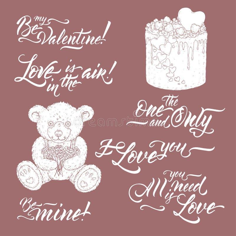 Colección de frases románticas de las letras del cepillo con bosquejo del oso de peluche y de la torta de la tarjeta del día de S ilustración del vector