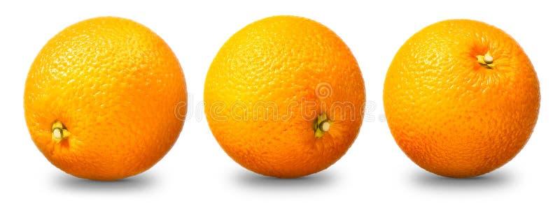 Colección de fruta anaranjada aislada en blanco imagenes de archivo