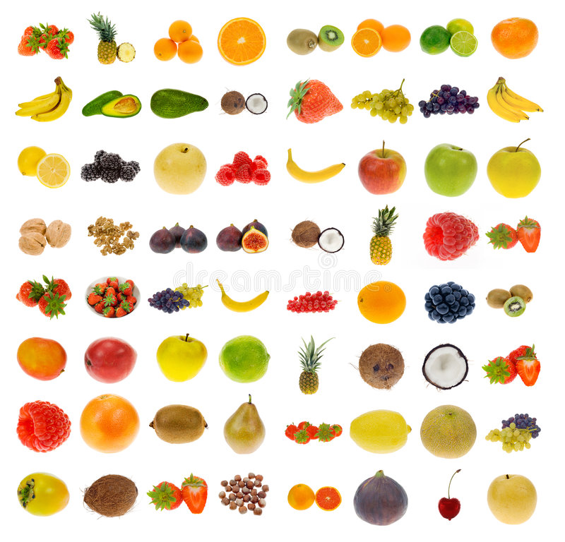 Colección de fruta y de tuercas imágenes de archivo libres de regalías