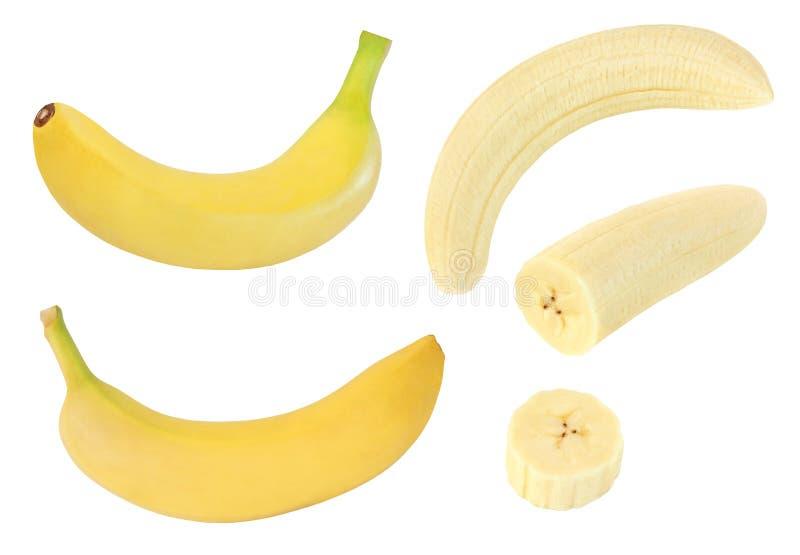 Colección de frutas amarillas enteras y cortadas del plátano aisladas en blanco con la trayectoria de recortes fotos de archivo