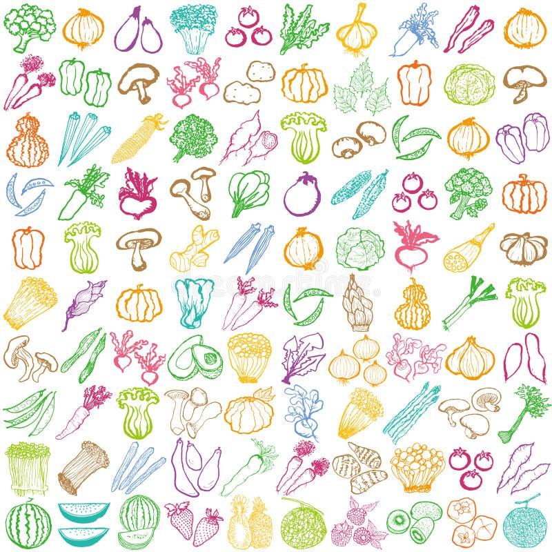 Colección de frutas y verduras frescas libre illustration