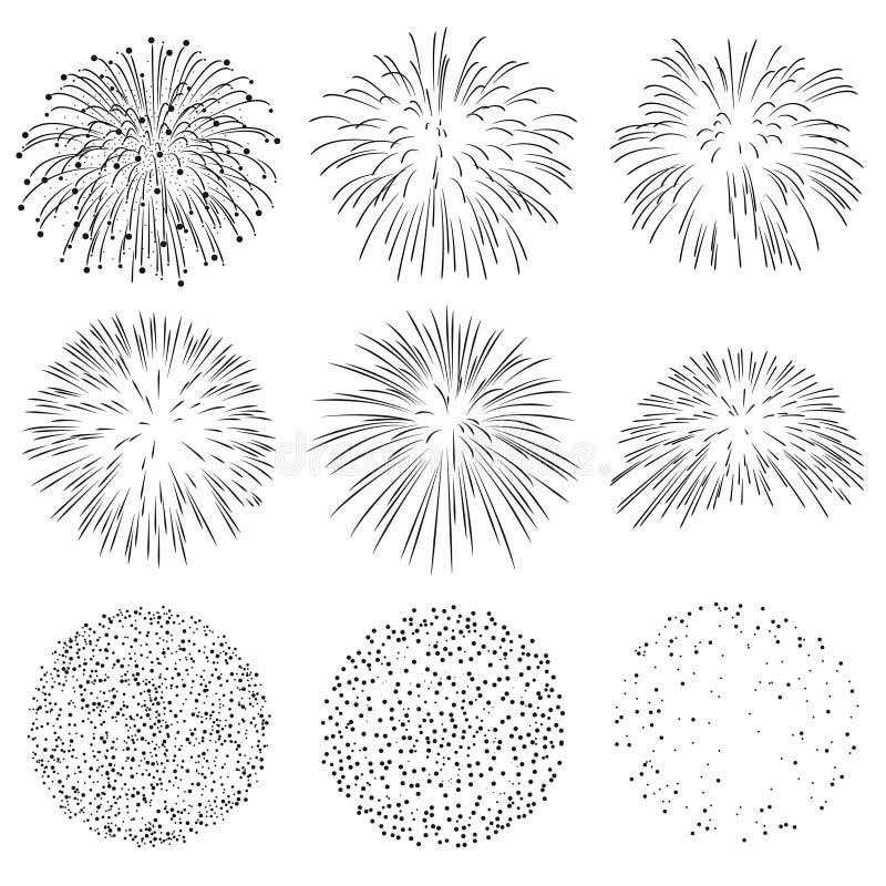 Colección de fuego artificial Rocket Explosion Sparks Set del vector stock de ilustración