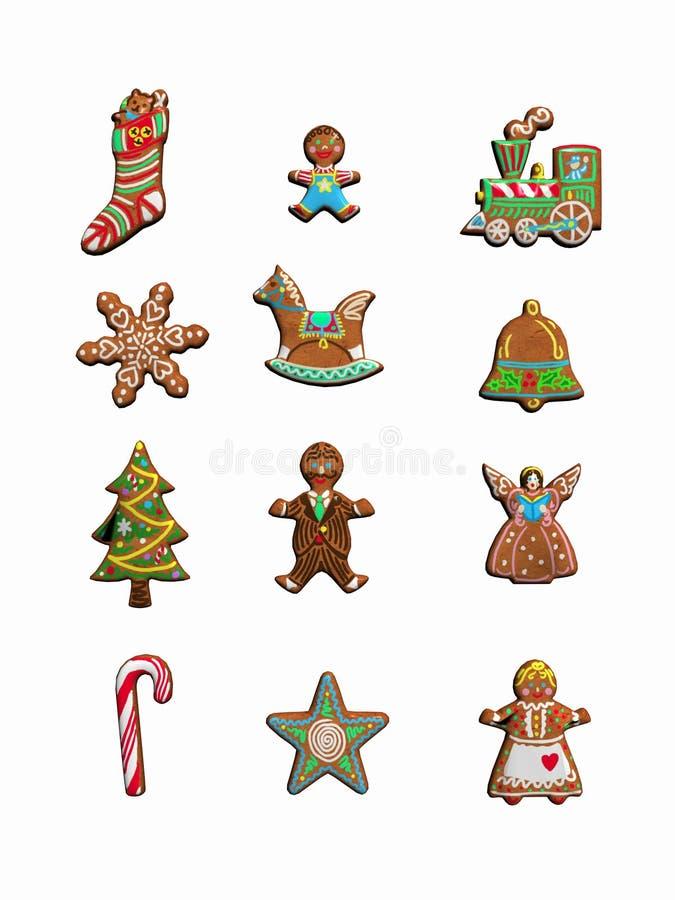 Colección de galletas de la Navidad. stock de ilustración