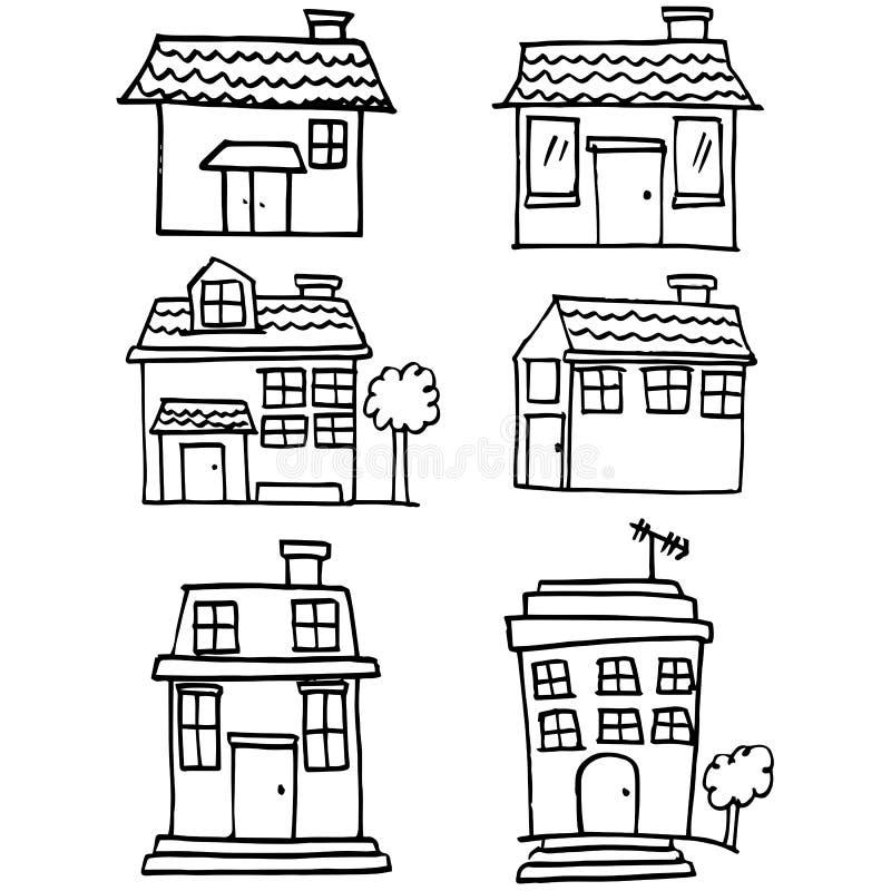 Colección de garabato del sistema de la casa ilustración del vector
